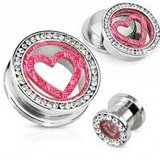 Pink heart tunnels body jewelry in Camp Lejeune, North Carolina