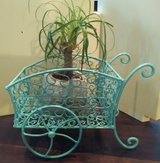Ocean Blue Antique Metal Cart Planter in Wilmington, North Carolina