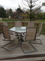 "54"" Tempered Glass Patio Table w/6 chairs in Aurora, Illinois"