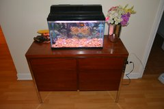 Fish tank with sturdy wooden stand in Aurora, Illinois