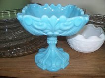 Blue milk glass pedestal candy dish  perfect in Morris, Illinois