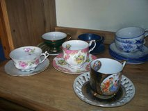 6 tea cups/saucers  fine china England, germany japan  gorgeous in Joliet, Illinois