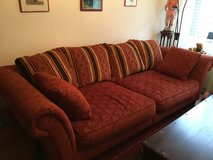 Super comfy huge red couch with ottoman. Big sofa - Great quality and perfect condition ?? in Ramstein, Germany