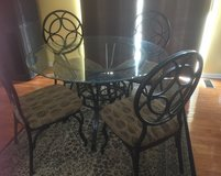 Glass top dining table with 4 chairs in Bolingbrook, Illinois