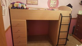 Lea Twin Loft bed with 5 drawers and desk in Morris, Illinois
