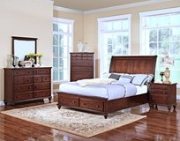 SOLID WOOD QUEEN UPSCALE BED SET !! WITH STORAGE! in Camp Pendleton, California