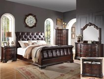 LABOR DAY SALE! LUXURIOUS QUEEN TUFTED LEATHER/ WOOD BED SET!! in Camp Pendleton, California