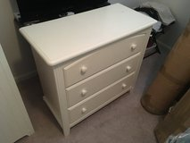 Solid wood white 3 drawer dresser in Belleville, Illinois