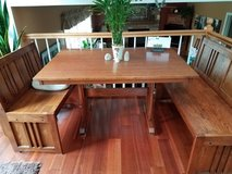 Oak Table & 3 Benches- Excellent cond. in bookoo, US