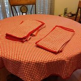 Checkered table cloth, valances, placemats in Moody AFB, Georgia