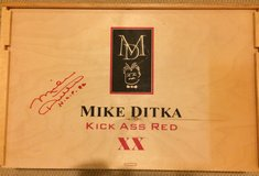 Autographed Mike Ditka wine box, authentic in Naperville, Illinois