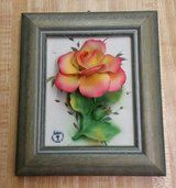 Vintage Capodimonte Fabar Wood Framed Porcelain Rose-HANDMADE IN ITALY in Fort Benning, Georgia