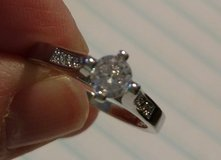 Sterling silver ring with white gold plated sz 8 in Watertown, New York