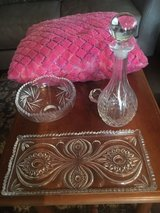 Crystal wine carafe, dish, bowl, and candle holder in Vicenza, Italy