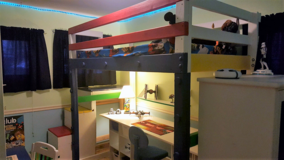 Boys' custom LEGO loft bed with large building area, desk and LOTS of storage! in Bartlett, Illinois