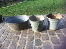 Old tin buckets in Ramstein, Germany