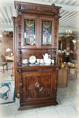 superb Renaissance style hutch with stained glass in Wiesbaden, GE