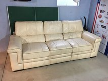 Real Leather Recliner Couch White / Cream Color in Lockport, Illinois