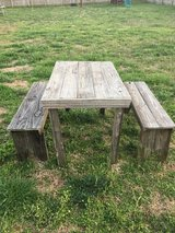 Outdoor barnwood table with 2 benches in Fort Campbell, Kentucky