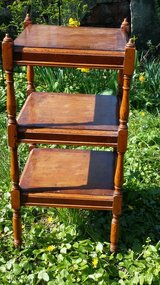 English made , 3 tier table w brass roller feet in Ramstein, Germany