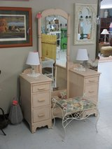 Vintage Panted 6 Drawer Vanity With Mirror And Stool At Twice As Nice Flea Market Booth # 605 in Cherry Point, North Carolina