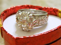 **925 Sterling Silver Floral Halo CZ Diamond Ring** (Size: 6) in Conroe, Texas