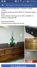 3 different types of dressers in Yucca Valley, California