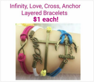 INFINITY, LOVE, CROSS, ANCHOR LAYERED BRACELETS in Columbus, Georgia