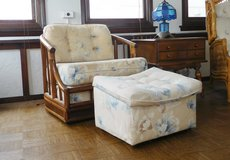 Rattan Upholstered Chair with matching ottoman in Glendale Heights, Illinois