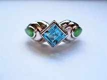 Sterling Silver Blue Topaz and Gaspeite Ring (Size 5.5) in San Antonio, Texas