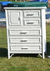 highboy/ chest of drawers/ faux bamboo/ has matching pieces. bedroom set available in Morris, Illinois