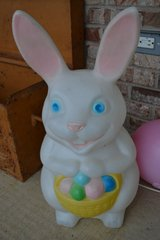Indoor Outdoor Blowmold Lighted Easter Bunny with Egg Basket Light Decor in Joliet, Illinois