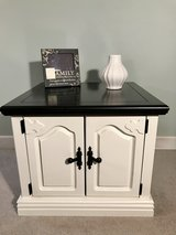 Nice white side table with espresso top in Algonquin, Illinois