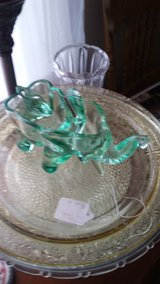 Green glass elephant candy dish in Fort Campbell, Kentucky
