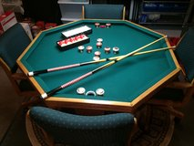 Texas Holdem Poker Table Wooden 3 in 1 Game Dining Bumber Pool Table Antique Set in Bolingbrook, Illinois