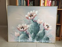 Very nice large canvas oil painting  picture with cactus flowers in Pensacola, Florida