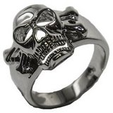 Men's Rhodium Plated Enameled Skull- size in Baytown, Texas