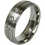 Men's Stainless Steel Dress Ring Black Enamel Channel and CZ-size 11 in Baytown, Texas