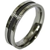Men's Stainless Steel Dress Ring Mesh and CZ Channel Band-sz 10,11 in Baytown, Texas