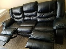 Black Leather 3 Seater Recliner Couch in Colorado Springs, Colorado