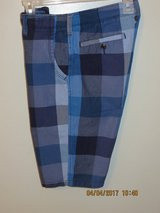 Young Men's Arizona Blue Plaid Chino-Style Shorts - Boys Size 18R in Lockport, Illinois
