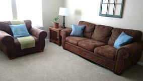 Couch, arm chair, 2 side tables, coffee table (Living room set) in DeKalb, Illinois