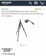 Manfrotto 055XPROB Black Aluminum Tripod with Manfrotto MVH502AH Pro Video Head with Quick-Relea... in Fort Leonard Wood, Missouri