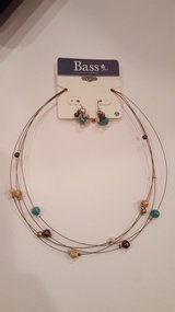Bass Purple, Turquoise, Cream Balls Necklace and Earrings set in Bartlett, Illinois