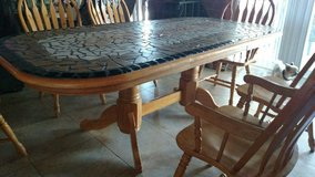 Oak 8 piece ceramic tile inlay dining table in Pearl Harbor, Hawaii