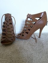 Brown laced heels in San Diego, California