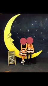 Wooden moon backdrop and bench in Naperville, Illinois