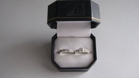 925 Sterling Silver Plated Rhine stone Romantic Engagement Wedding Ring Set $15.00 size 6 in Fort Knox, Kentucky
