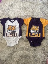 Two Jersey LSU Onesies Size 0-3 Months in Kingwood, Texas