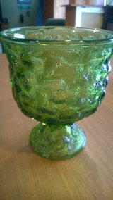 Green Crinkle Glass Compote in Fort Campbell, Kentucky